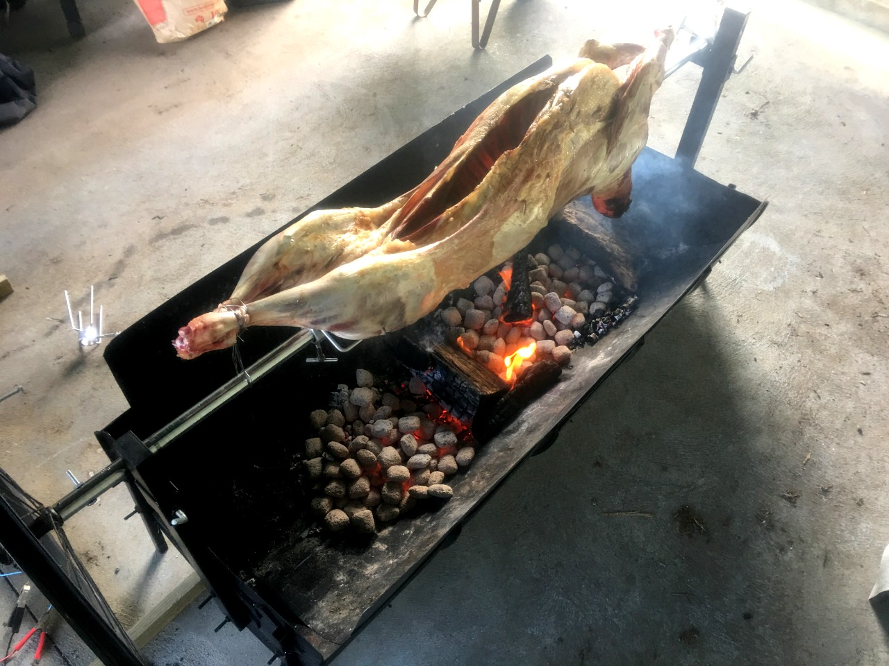 whole beast cooked on barbecue spit